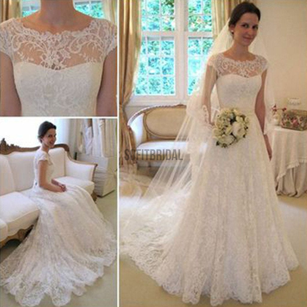 Long A-Line Round Neck Illusion White Lace Wedding Party Dresses, WD0044 - SofitBridal
