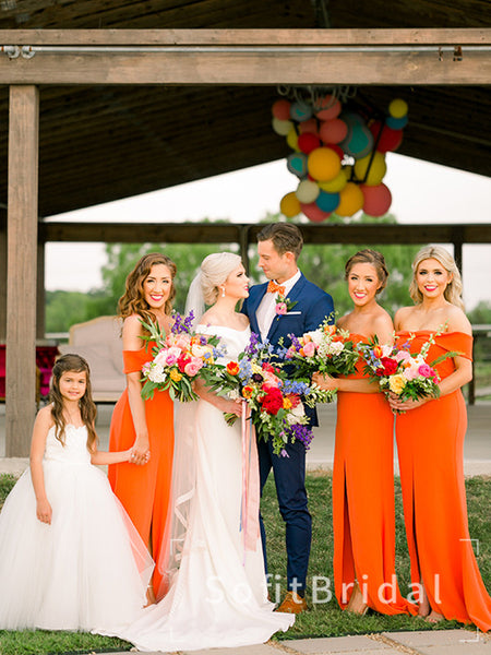 Mermaid Off The Shoulder Burnt Orange Cheap Long Bridesmaid Dresses With Slit,STWG0045