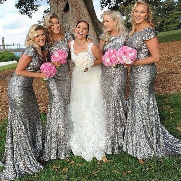 Sparkly Popular Cheap Short Sleeve Bling Silver Sequin Sexy Mermaid Long Bridesmaid dresses, WG46 - SofitBridal