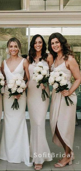Mermaid Spaghetti Straps Illusion Cheap Long Bridesmaid Dresses,STWG0047