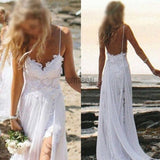 Simple Spaghetti White Lace Side Slit Wedding Dresses For Beach Wedding, WD0047 - SofitBridal