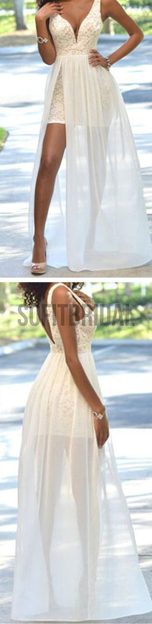 Cheap Popular Simple Ivory Lace Side Slit Chiffon Wedding Party Dresses, WD0048 - SofitBridal