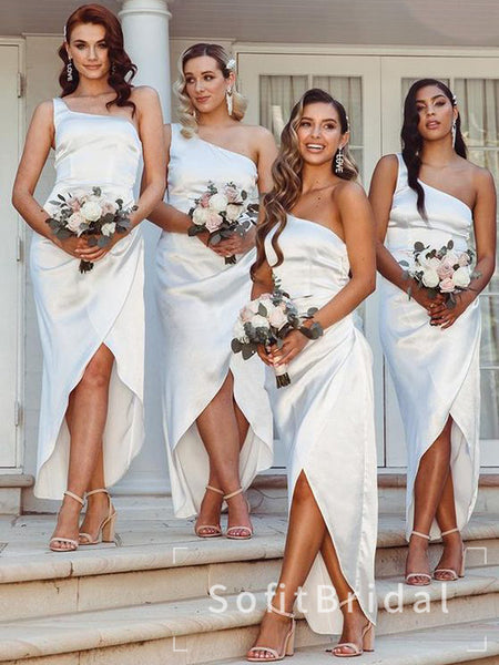 Mermaid One Shoulder Silver Split Side Cheap Long Bridesmaid Dresses,STWG0048