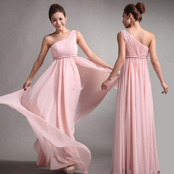 Popular Junior One Shoulder Pink Chiffon Simple Cheap Long Pleating Wedding Party Dress Hot Sale Bridesmaid Dresses, WG49 - SofitBridal