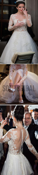 Charming Popular Long Sleeve Lace See Through Wedding Party Dresses, WD0049 - SofitBridal