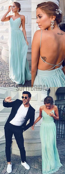 Cheap Simple Chiffon Open Back Cheap Tiffany Blue Prom Dress, Junior Sexy Long Wedding Party Dresses, WG50 - SofitBridal
