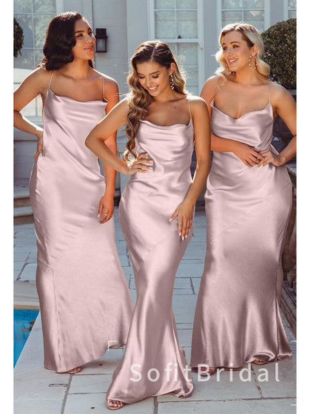 Mermaid Spaghetti Straps Illusion Cheap Long Bridesmaid Dresses Online,STWG0049