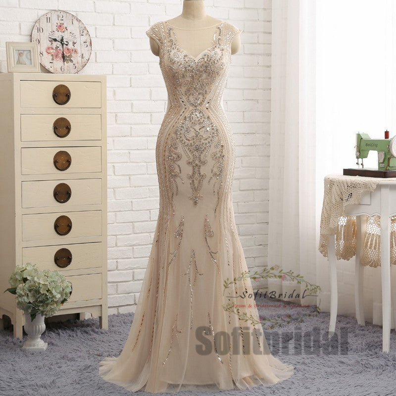 Luxury Rhinestone Beaded Long Mermaid Prom Dresses, Popular Long Prom Dresses, PD0338 - SofitBridal