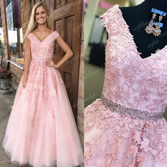 V-neck Pink Lace A-line Beaded Prom Dresses, Lovely Prom Dresses, Evening Dresses, PD0353