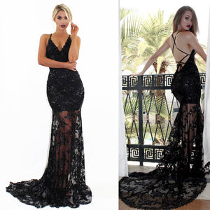 Sexy V-neck Lace Up See through Black Tulle Sequin Long Prom Dresses, Formal Dresses, PD0321