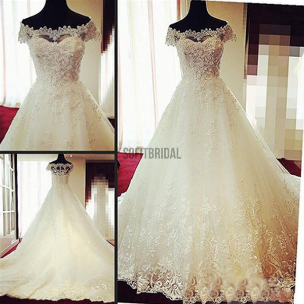 Gorgeous Off Shoulder Cap Sleeve Vantage Lace Wedding Party Dresses, Dresses For Wedding, WD0004 - SofitBridal