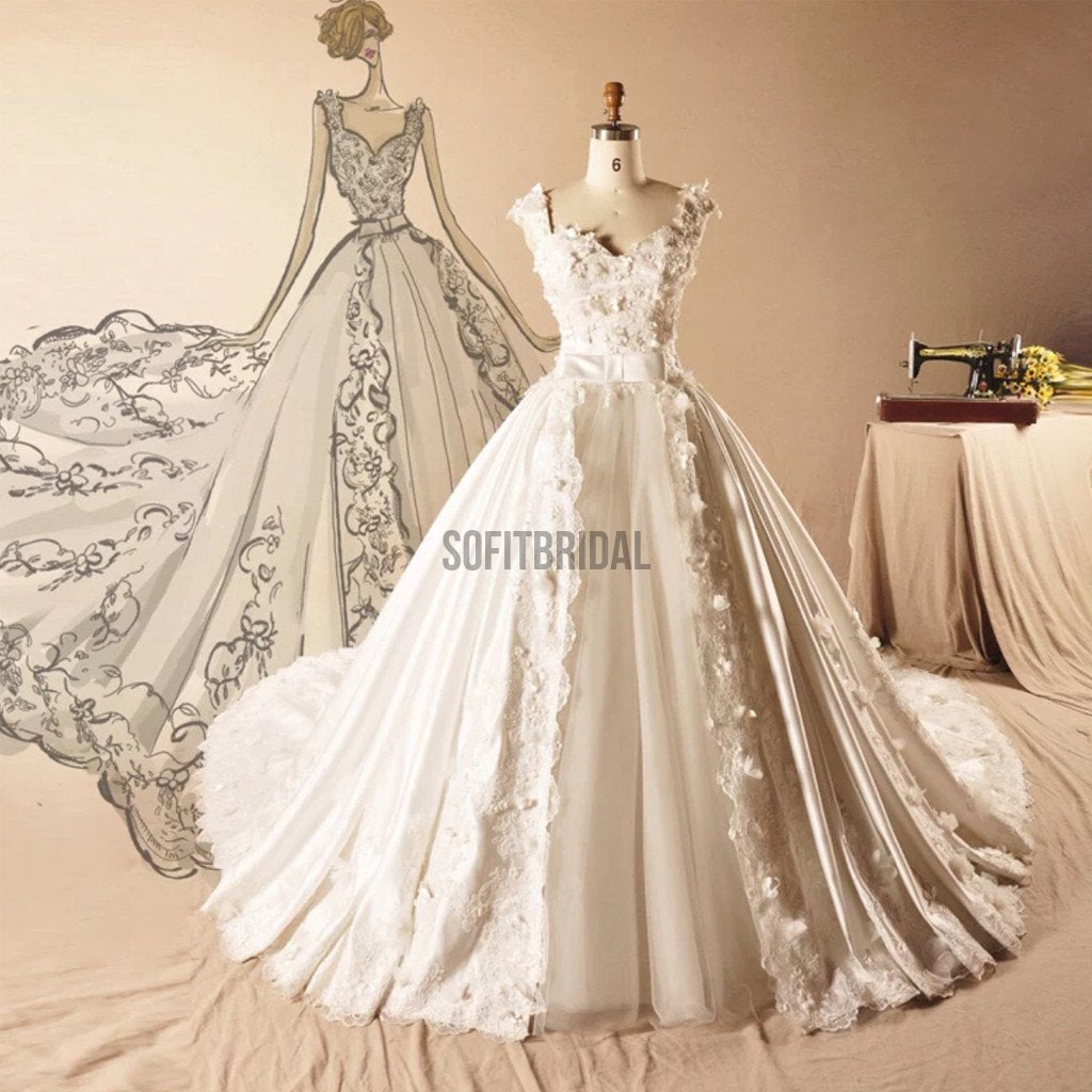 Vantage Satin Long A-line Appliques White Lace Tulle Wedding Dresses, WD0189