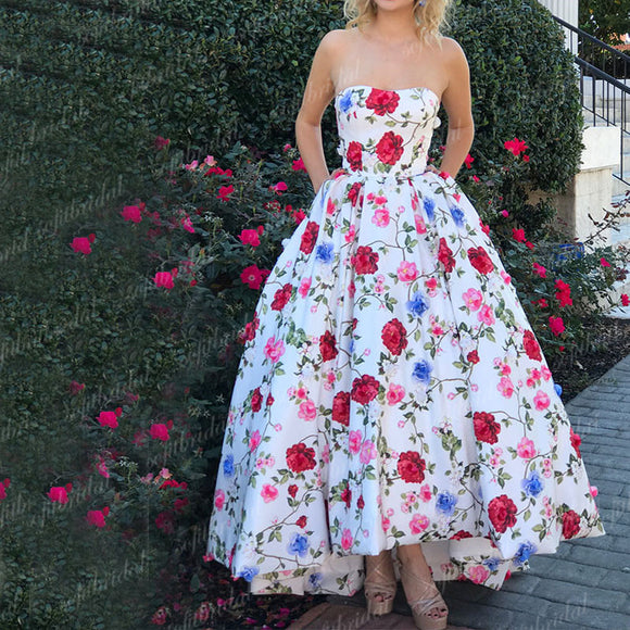 Most Popular Sweetheart A-line Floral Prom Dresses, Chic Prom Dresses, Dresses For Prom, PD0344