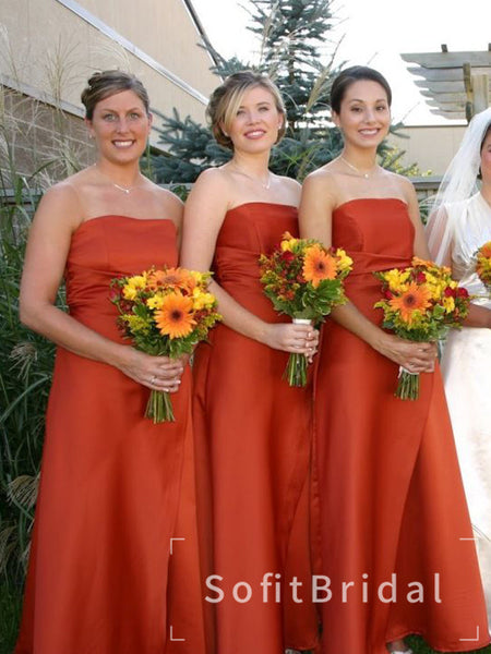 A-Line Strapless Burnt Orange Satin Affordable Long Bridesmaid Dresses,STWG0050