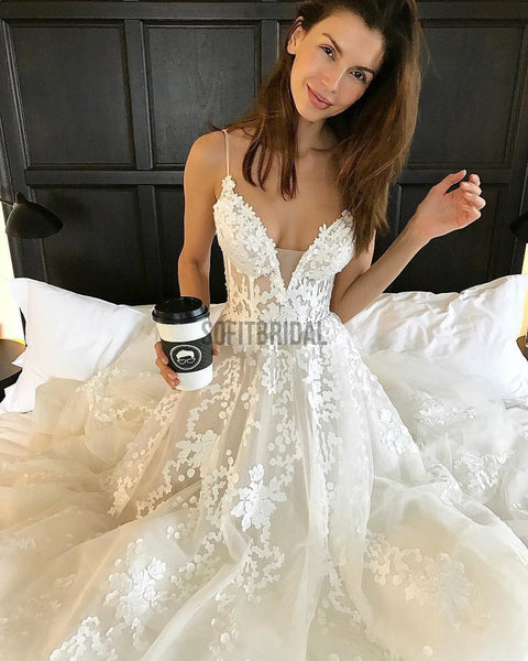 Spaghetti V-neck Long A-line Appliques Tulle Gorgeous Cheap Wedding Dresses, WD0092 - SofitBridal