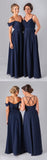 Mismatched Different Styles Chiffon Navy Blue Floor-Length A Line Formal Cheap Sexy Bridesmaid Dresses, WG52 - SofitBridal