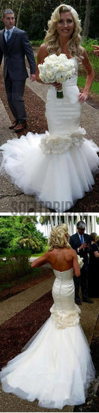 Vantage Sweetheart Satin Wedding Party Dresses With Appliques, Tulle Bridal Gown, WD0054 - SofitBridal