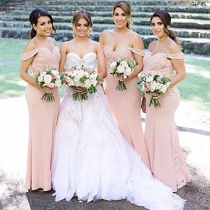 Junior Pretty Blush Pink Lace Off Shoulder Sweet Heart Mermaid Floor-Length Bridesmaid Dresses, WG55 - SofitBridal