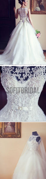 High Quality Long A-line Lace Sleeveless Wedding Dresses with Pearls, WD0056 - SofitBridal