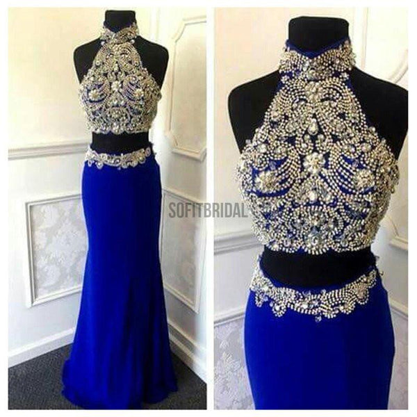 Gorgeous High Neck Two Pieces Sexy Mermaid Navy Blue Jersey Prom Dresses, WD0223 - SofitBridal