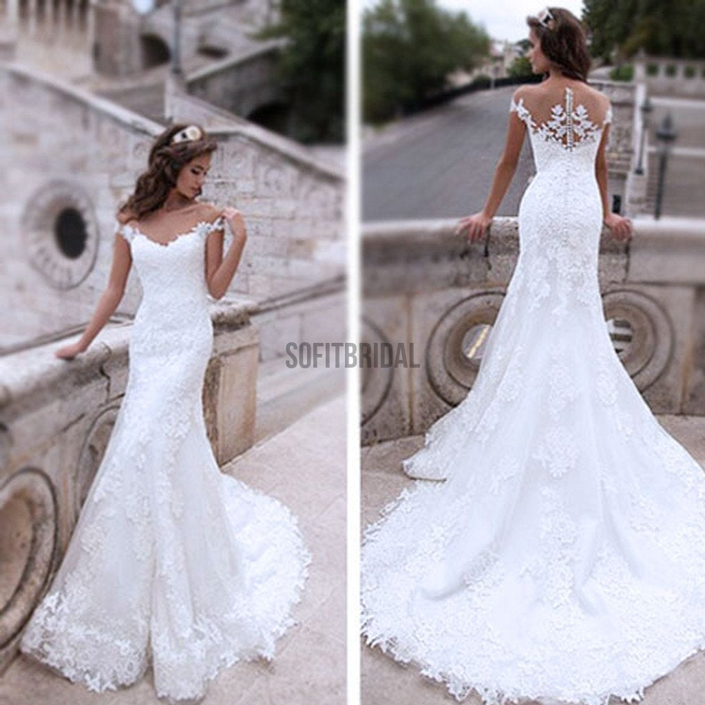 Charming Off Shoulder Sexy Mermaid White Lace Bridal Gown, Wedding Dresses, WD0058 - SofitBridal