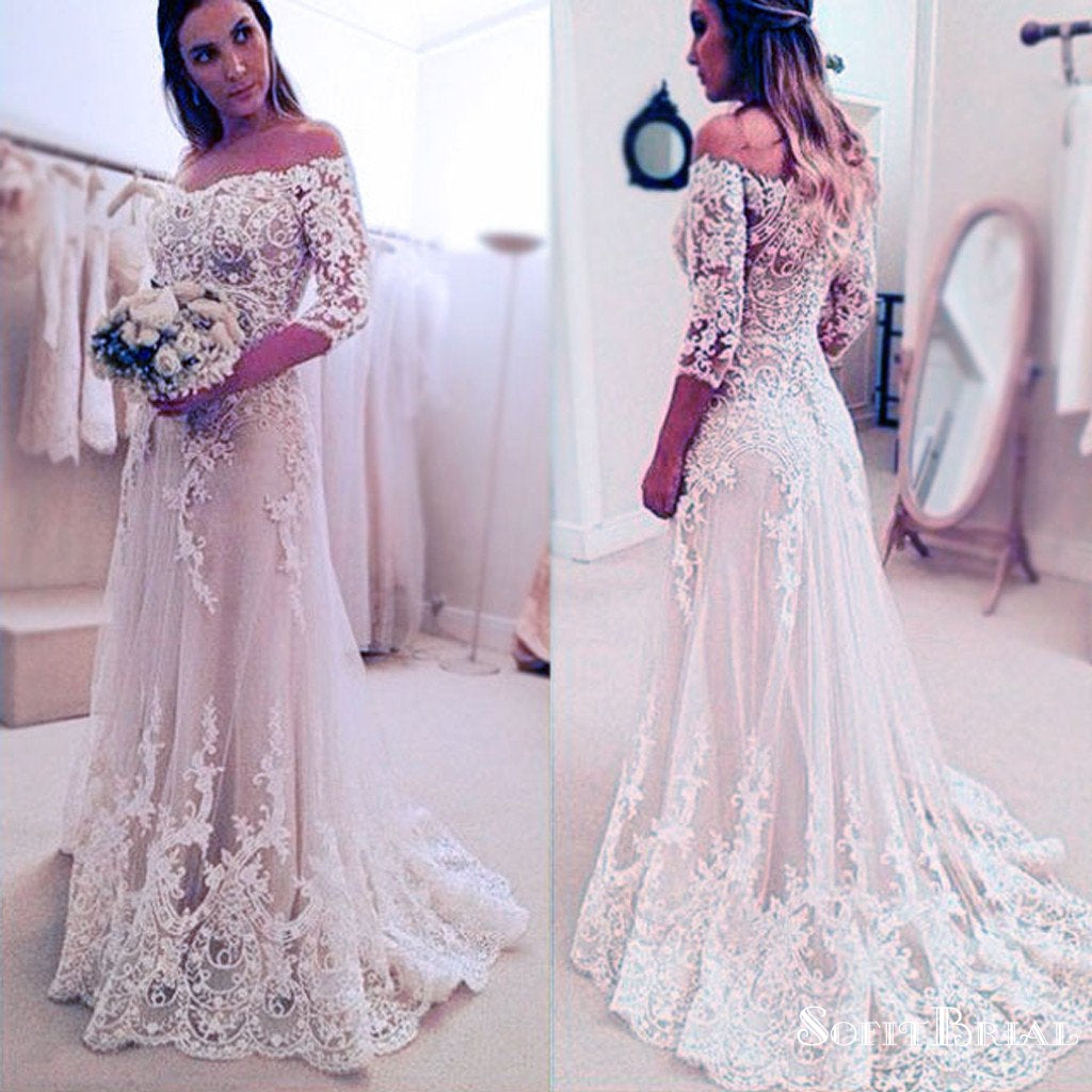 Stunning off shoulder half sleeve long a line wedding for White after wedding party dress