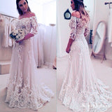 Stunning Off Shoulder Half Sleeve Long A-line Wedding Party Dresses, WD0059 - SofitBridal