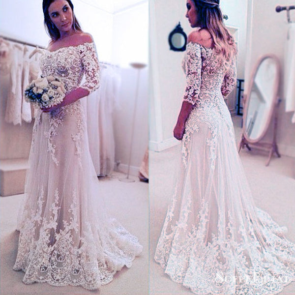 4e8ace206acc Stunning Off Shoulder Half Sleeve Long A-line Wedding Party Dresses ...