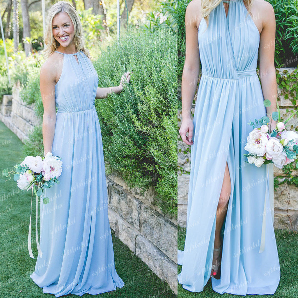 Halter Light Blue Chic Design Front Slit Long A-line Chiffon Bridesmaid Dresses, PD0345 - SofitBridal