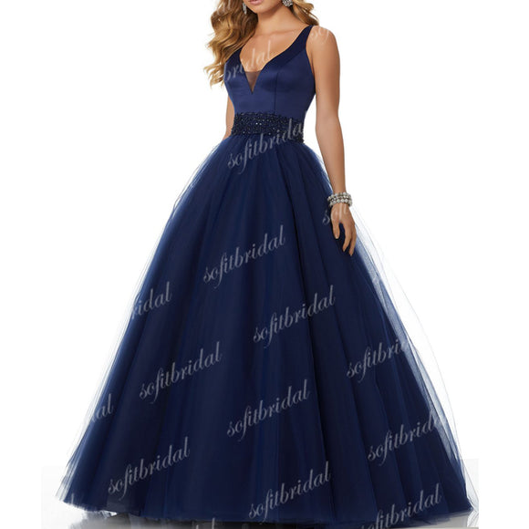 Elegant Navy Satin A-line Tulle Beaded Prom Dresses, Gorgeous Evening Gown, PD0324