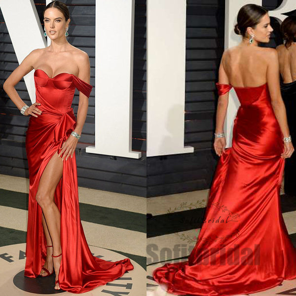 One Shoulder Off Shoulder Sweetheart Red Side Slit Satin Prom Dresses with Ruffles, PD0339 - SofitBridal
