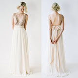Off Shoulder Top Sequin Prom Dress V-Neck Junior Pretty Long Bridesmaid Dresses with Bow, WG05 - SofitBridal