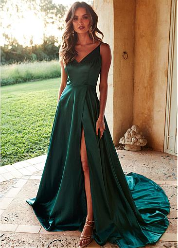 e961c5d992 Simple V-neck A-line Side Slit Green Elastic Satin Prom Dresses ...