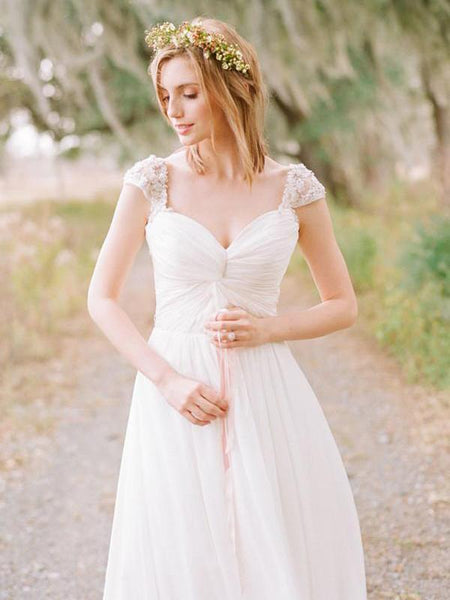 Cap Sleeve Beaded Unique Casual Cheap Beach Wedding Dresses, WD314