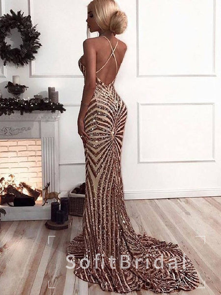 Sexy Mermaid Deep V-Neck Sleeveless Halter Backless Sequined Long Prom Dresses,STPD0006