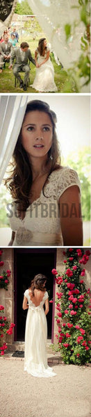 Popular Cheap Long A-line V-back Cap Sleeve Simple Lace Wedding Party Dresses, WD0006 - SofitBridal