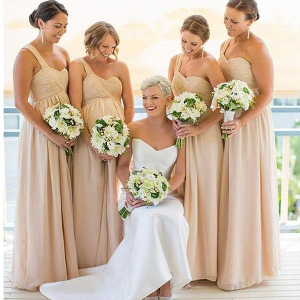 Inexpensive Chiffon One Shoulder Empire Waist Pregnant Women Sweet Heart Floor-length A Line  Bridesmaid Dresses, WG60 - SofitBridal