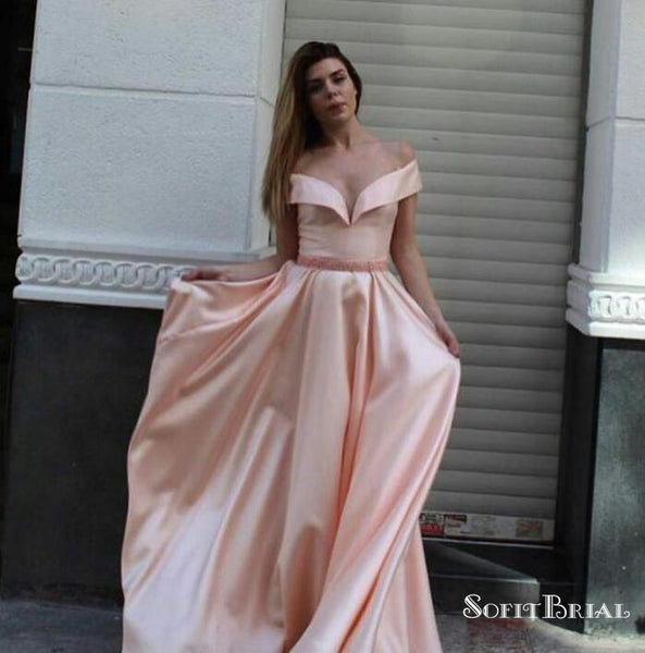New Design Pink Off Shoulder Long Cheap Prom Dresses With Beaded, TYP0102