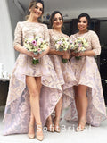 A-Line Round Neck 3/4 Sleeves Lace High Low Lace Bridesmaid Dresses,STWG0063