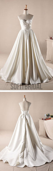 Vantage Ivory Sweetheart Long A-line Simple Design Wedding Party Dresses, WD0064 - SofitBridal