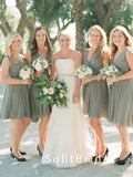 Simple A-Line V-Neck Sleeveless Short Chiffon Bridesmaid Dresses,STWG0065