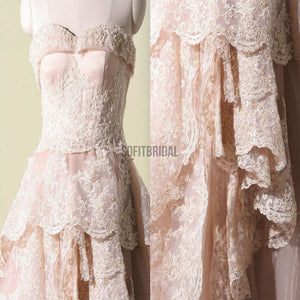 Vantage Pink Lace Sweetheart Classic Style Long A-line Wedding Party Dresses, WD0066 - SofitBridal