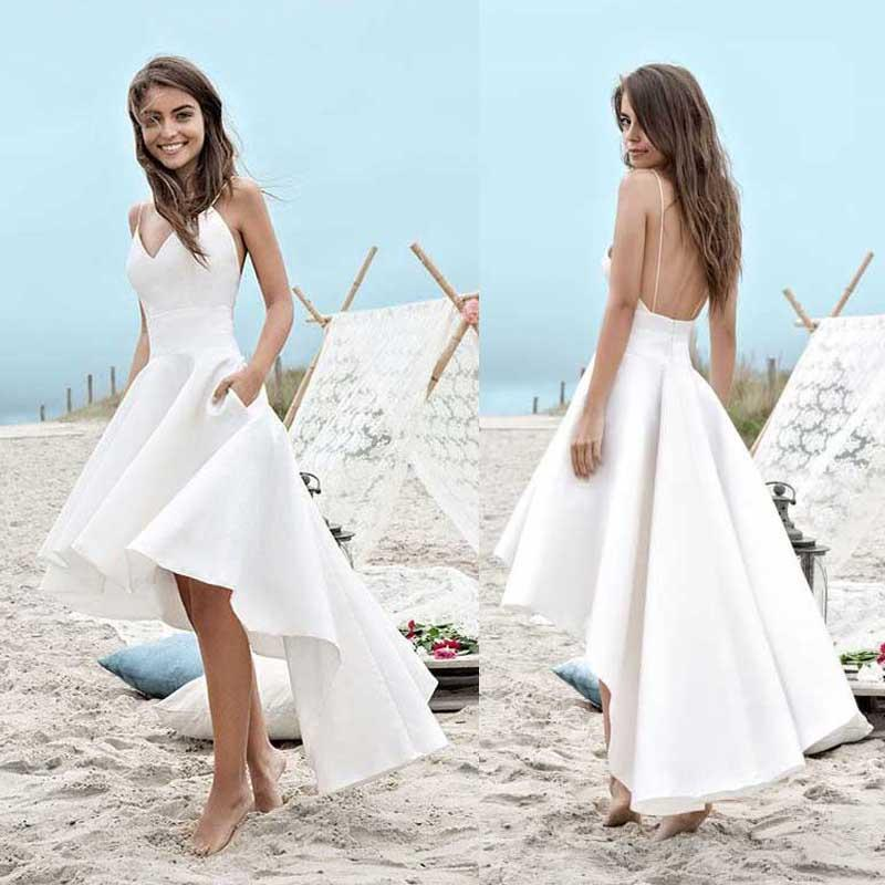 Simple Spaghetti V-neck Hi-low Off White Satin Wedding Dresses, Backless Beach Wedding Dresses, PD0302
