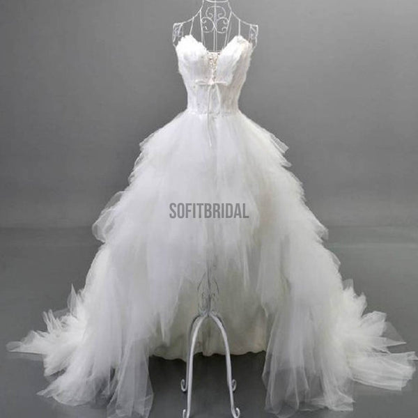 Unique Style Hi-low Sweetheart White Tulle Spaghetti Wedding Dresses With Feather, WD0067 - SofitBridal
