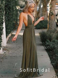 A-Line Deep V-Neck Spaghetti Straps Open Back Long Bridesmaid Dresses,STWG0069
