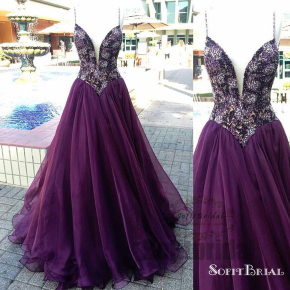 Spaghetti Purple Beaded Chiffon A-line Prom Dresses, Affordable Prom Dresses, PD0340