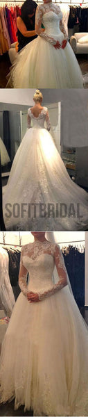 Long Sleeve Illusion White Lace Tulle Wedding Dresses, Cheap Vantage V-back Bridal Gown, WD0007 - SofitBridal