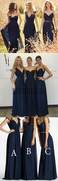 Mismatched New Design Elegant Lace Chiffon Navy Blue A Line Floor-Length Inexpensive Bridesmaid Dresses, WG70