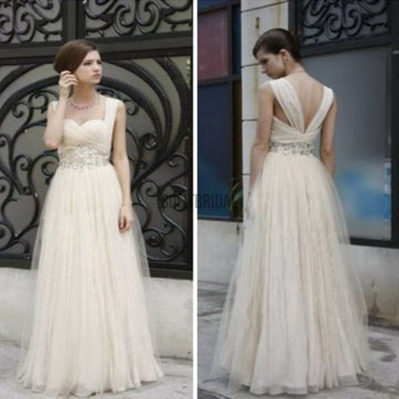 Charming Simple Design Ivory High Waist Rhinestone Wedding Party Dresses, WD0070 - SofitBridal