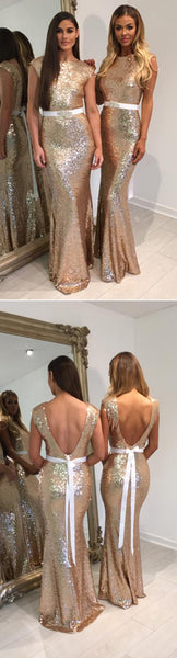 Fashion Design Shinning Sequin Elegant Mermaid Long Cheap Bridesmaid Dresses for Wedding Party, WG72 - SofitBridal